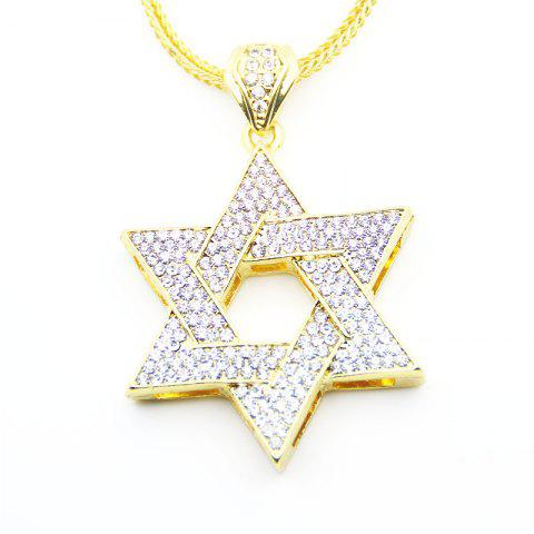 Sale European and American Jewish Symbol Star Pendant Necklace GOLDEN