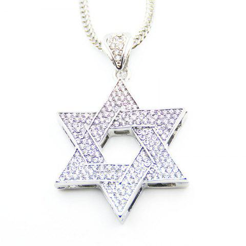 Online European and American Jewish Symbol Star Pendant Necklace SILVER