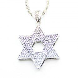 European and American Jewish Symbol Star Pendant Necklace - SILVER