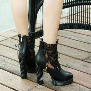 Women's Bottines Solid Color Elegant Strappy All Matched Thick Heel Shoes -