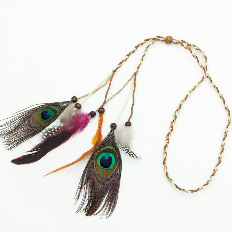 Buy Tb020006 Feather Headdress Feather Hair Band Peacock Feather Head Hair with Indian Bohemian National Wind Hair Hair Rope