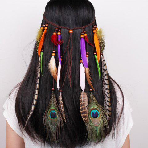 Sale Tb020009 Indian Hair Tassel Headband Feather Hair Ornaments COLORFUL