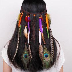 Tb020009 Indian Hair Tassel Headband Feather Hair Ornaments - COLORFUL