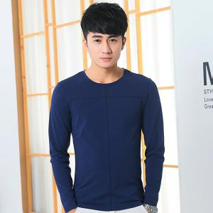 Mens Solid Color Decorative Buttons Round Neck Slim long Sleeve T-Shirt - ROYAL L