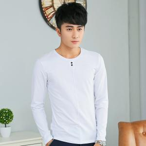 Mens Solid Color Decorative Buttons Round Neck Slim long Sleeve T-Shirt - WHITE L