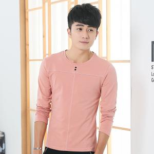 Mens Solid Color Decorative Buttons Round Neck Slim long Sleeve T-Shirt - PINK XL