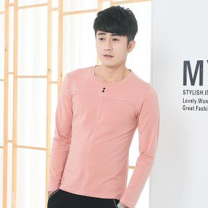 Mens Solid Color Decorative Buttons Round Neck Slim long Sleeve T-Shirt - PINK M