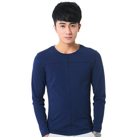 New Mens Solid Color Decorative Buttons Round Neck Slim long Sleeve T-Shirt