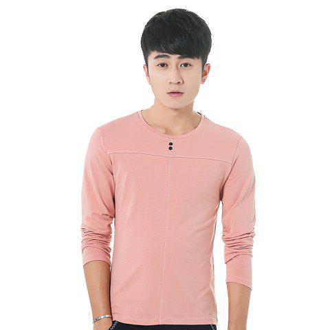 Online Mens Solid Color Decorative Buttons Round Neck Slim long Sleeve T-Shirt PINK M