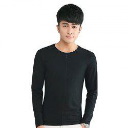 Mens Solid Color Decorative Buttons Round Neck Slim long Sleeve T-Shirt - BLACK XL