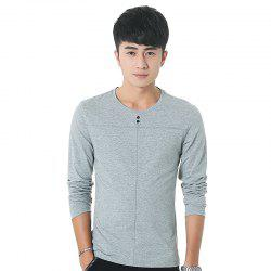 Mens Solid Color Decorative Buttons Round Neck Slim long Sleeve T-Shirt - GRAY XL