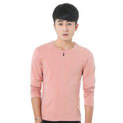 Mens Solid Color Decorative Buttons Round Neck Slim long Sleeve T-Shirt -