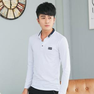 Mens Long Sleeve Slim Lapel T-Shirt -