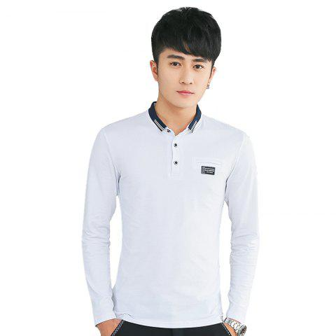 Shop Mens Long Sleeve Slim Lapel T-Shirt