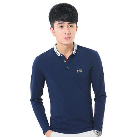 Store Mens Long Sleeve Slim Lapel T-Shirt - M ROYAL Mobile