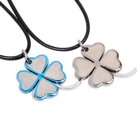 Affordable Fashion Lucky Grass Titanium Steel Couples Necklaces 2 Pcs/Lot - SILVER WHITE 1001A#  Mobile