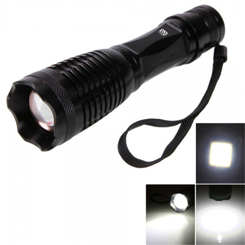 YWXLight T6 LED 900LM 6000K 5 Modes Telescopic Zoom FlashlightHOME<br><br>Color: BLACK; Brand: YWXLight; Color: Black; Flashlight Type: Safety; Flashlight size: Full Size; Emitters: Cree XML-T6; Emitters Quantity: 1; Lumens Range: &gt;1000Lumens; Luminous Flux: 900LM; Color Temperature: 6000 - 6500K; Feature: Lanyard,Waterproof,Zoomable; Function: Backpacking,EDC,Exploring,Hunting,Night Riding,Rescue,Search,Seeking Survival,Work; Switch Location: Tail Cap; Light Modes: SOS; Mode: 5(Low; Mid; High; Strobe; SOS); Power Source: Battery; Battery Type: 18650; Battery Quantity: 1 x 18650 Lithium Batteries; Battery Included or Not: No; Mode Memory: No; Zooming Function: Yes; Rechargeable: No; LED Lifespan: &gt;100000;