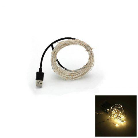 Hot 10M 100-LED Silver Wire Strip Light USB Power Supply Fairy Lights Garlands Christmas Holiday Wedding Party 1PC WARM WHITE LIGHT