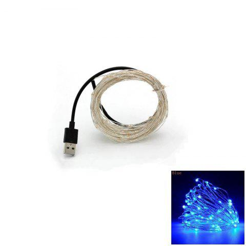 Online 10M 100-LED Silver Wire Strip Light USB Power Supply Fairy Lights Garlands Christmas Holiday Wedding Party 1PC - BLUE LIGHT  Mobile