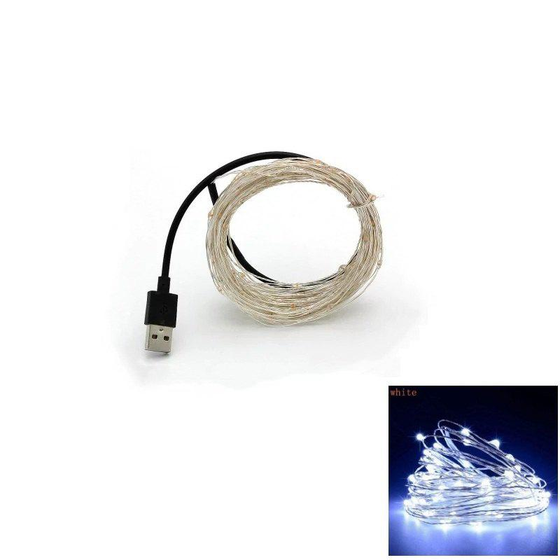 10M 100-LED Silver Wire Strip Light USB Power Supply Fairy Lights Garlands Christmas Holiday Wedding Party 1PCHOME<br><br>Color: WHITE LIGHT; Type: String Lights; Light Source Color: Blue,Multi Color,Warm White,White; Length ( m ): 10; Light color: Blue,Multi Color,Warm White,White; Wattage (W): 4.5; Voltage: DC 5V; Power Supply: USB; Features: Festival Lighting; Light Source: LED; Beam Angle: 360 degree; LED Quantity: 100; Bulb Included: Yes; Color Temperature or Wavelength: 3000 - 3500K ( Warm White ); 6000 - 6500K ( White ); 700 - 635nm ( Red ); 650 - 490nm ( Green ); 490 - 440 nm( Blue );