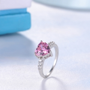 Sh Starharvest 925 Sterling Silver Rings with Pink Stone Wedding Promise Heart for Your Henoy -