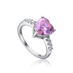 Sh Starharvest 925 Sterling Silver Rings with Pink Stone Wedding Promise Heart for Your Henoy - PINK 6