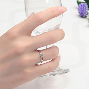 Sh Starharvest 925 Sterling Silver Rings with Prong Setting Solitaire for Female - SILVER 8