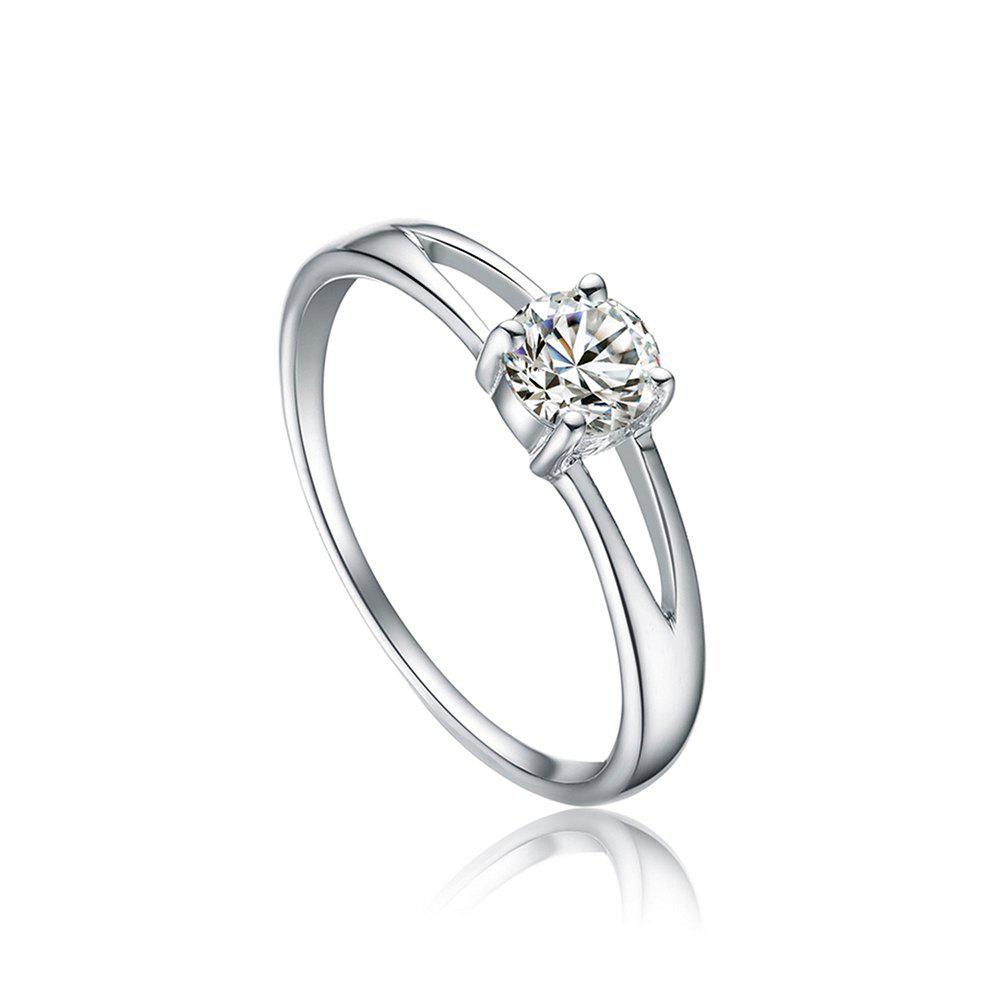 Sh Starharvest 925 Sterling Silver Rings with Prong Setting Solitaire for FemaleJEWELRY<br><br>Size: 8; Color: SILVER;
