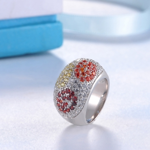 Sh Starharvest 925 Sterling Silver rings Engagement with Many Colorful Cz Stones -