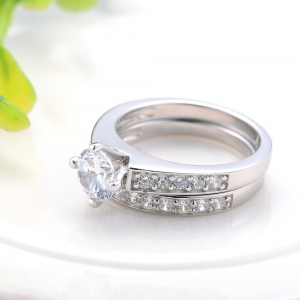 Sh Starharvest 925 Sterling Silver Ring Sets Nice Look Engagement for Female - SILVER 8