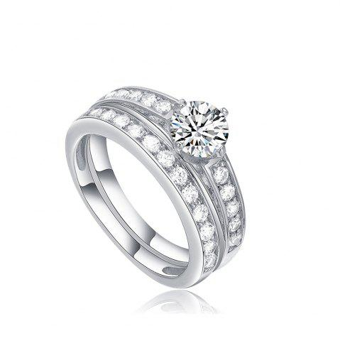 Shops Sh Starharvest 925 Sterling Silver Ring Sets Nice Look Engagement for Female - 6 SILVER Mobile