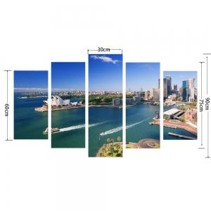 YHHP 5 Panels Sydney Opera House Scenery Picture Print Wall Art on Canvas Unframed -