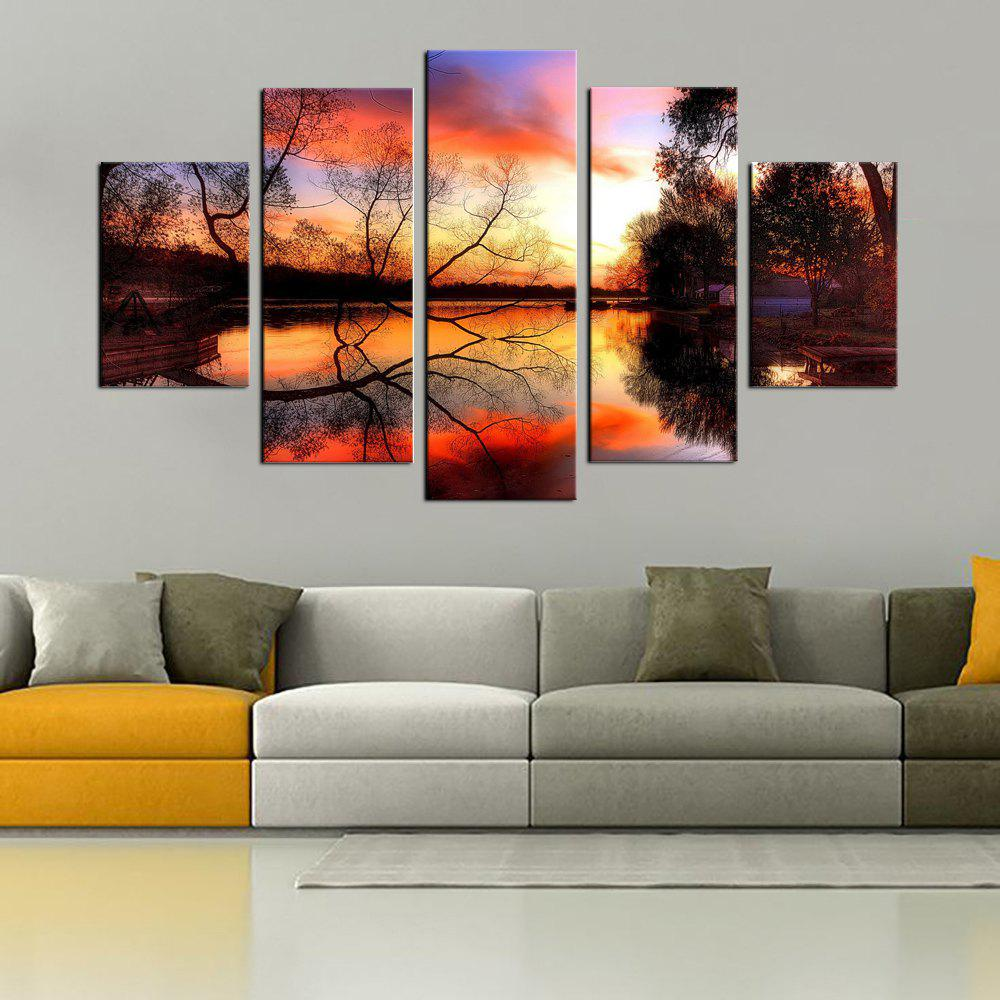 YHHP 5 Panels Landscape in Autumn Print Wall Art on Canvas UnframedHOME<br><br>Color: COLORMIX;