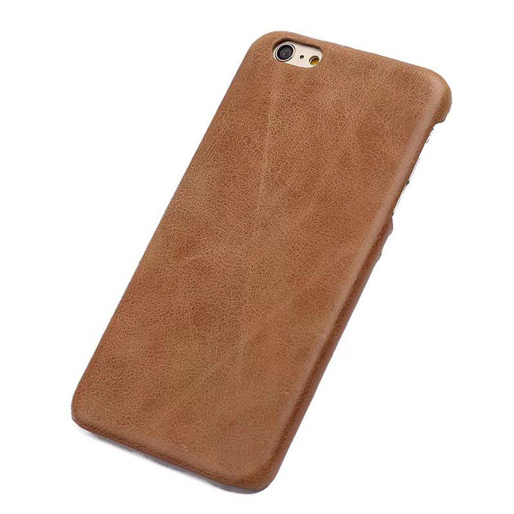 Wkae Retro Frosted Durable Genuine Leather Back Shell Cover Case for iPhone 7 / 8HOME<br><br>Color: BROWN;
