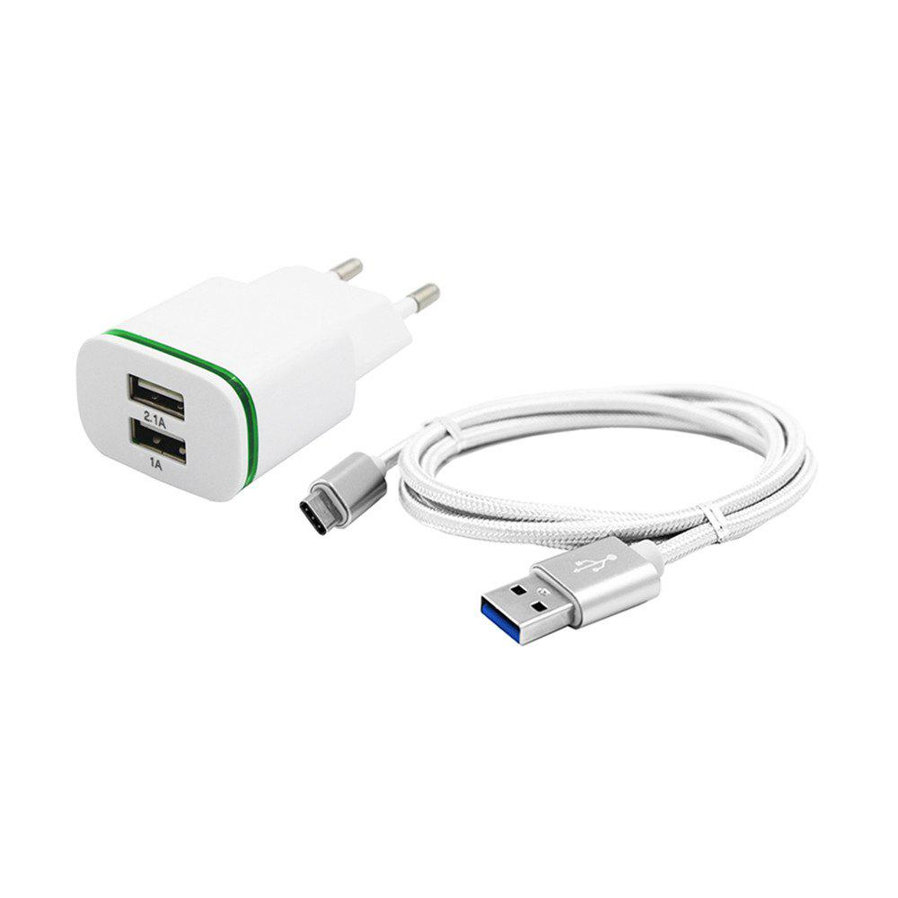 2-PORT 5V Fast-Charging Eu Plug Power Charger + Usb 3.1 Type C CableHOME<br><br>Color: WHITE;