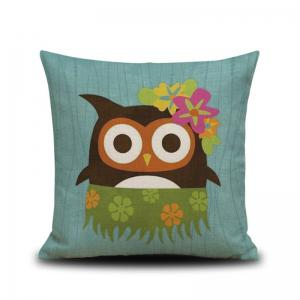 DIHE Set of 4 Creative Cartoon Animal Brave Owl Composite Material Linen Pillow Cover -