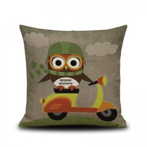 DIHE Set of 4 Creative Cartoon Animal Brave Owl Composite Material Linen Pillow Cover - 混合色(COLORMIX)