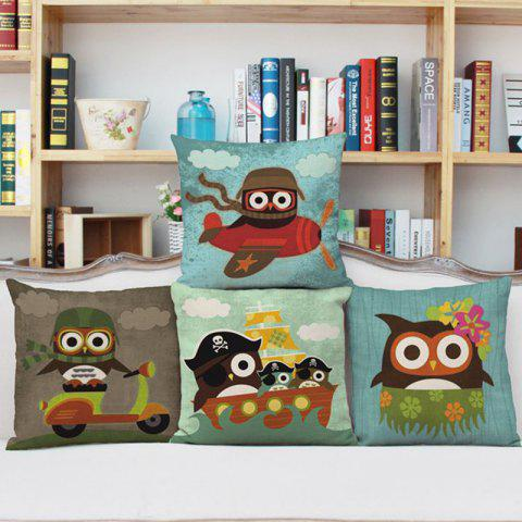 Chic DIHE Set of 4 Creative Cartoon Animal Brave Owl Composite Material Linen Pillow Cover 混合色(COLORMIX)