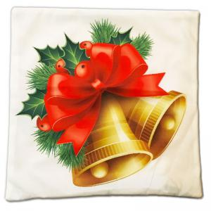 DIHE Lovely Golden Bell Cristmas Style Pillow Cover with Red Flowers And Green Leaves -