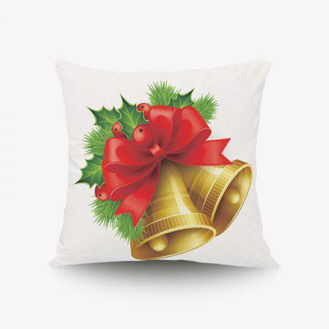 Discount DIHE Lovely Golden Bell Cristmas Style Pillow Cover with Red Flowers And Green Leaves