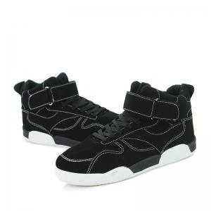 Canvas Shoes Casual Board Shoes High To Help Sports Shoes Fall Trend Students Wild - BLACK 44