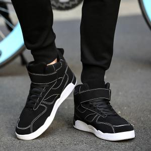 Canvas Shoes Casual Board Shoes High To Help Sports Shoes Fall Trend Students Wild - BLACK 39