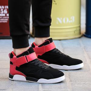 Canvas Shoes Casual Board Shoes High To Help Sports Shoes Fall Trend Students Wild - BLACK&RED 40