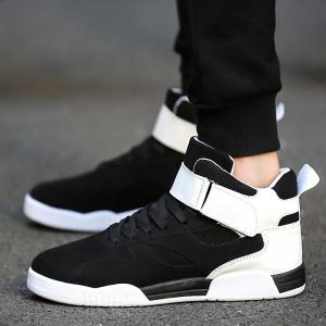 Canvas Shoes Casual Board Shoes High To Help Sports Shoes Fall Trend Students Wild - BLACK WHITE 42