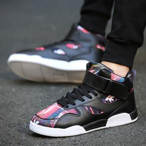 Canvas Shoes Casual Board Shoes High To Help Sports Shoes Fall Trend Students Wild - BLACK AND ROSE RED 44