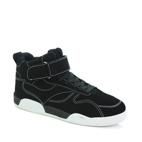 New Canvas Shoes Casual Board Shoes High To Help Sports Shoes Fall Trend Students Wild BLACK 44
