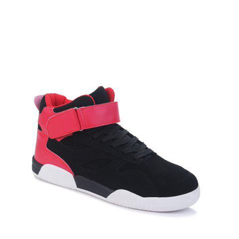 Buy Canvas Shoes Casual Board Shoes High To Help Sports Shoes Fall Trend Students Wild BLACK&RED 44