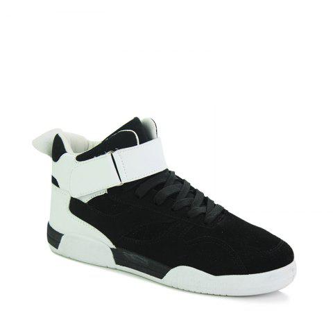 Unique Canvas Shoes Casual Board Shoes High To Help Sports Shoes Fall Trend Students Wild - 41 BLACK WHITE Mobile