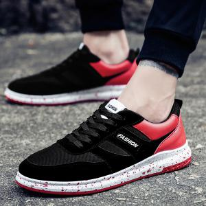 Men'S Shoes Fall Sports Shoes Board Shoes Mesh Shoes Breathable Canvas Shoes - BLACK AND ROSE RED 44