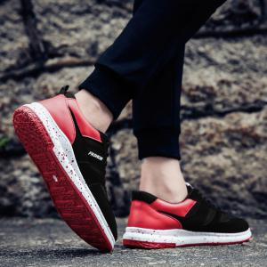 Men'S Shoes Fall Sports Shoes Board Shoes Mesh Shoes Breathable Canvas Shoes - BLACK AND ROSE RED 39